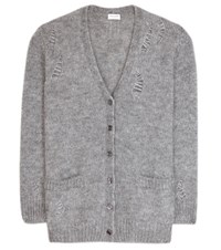 Saint Laurent Mohair Blend Cardigan Grey