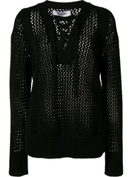 Derek Lam 10 Crosby Laced Neck Jumper Black