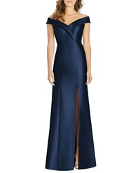 Alfred Sung Off The Shoulder Short Sleeve Gown With Slit Midnight