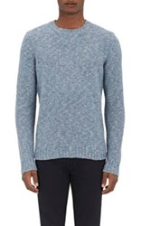 Barneys New York Men's Purl Stitched Sweater Blue