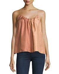 Helmut Lang Pieced Scarf Print Silk Camisole Top Blush Mult