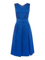 Marella Rinato Sleeveless Pleated Belted Dress Blue