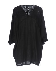 120 Lino Short Dresses Black