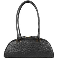 Fontanelli Black Stamped Italian Leather Bag