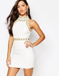 Missguided Premium Pearl Trim Bodycon Mini Dress Cream