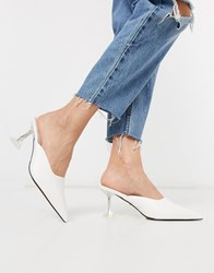 Topshop Leather Mules With Clear Heel In White