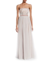 J. Mendel Strapless Paillette Embellished Column Gown W Overskirt Light Gray