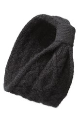 L. Erickson Convertible Cable Knit Cashmere Head Wrap Black