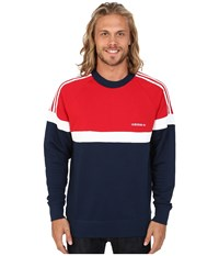 Adidas Itasca Crew Collegiate Navy Scarlet White Men's Sweater Blue