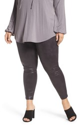 Melissa Mccarthy Seven7 Plus Size Women's Textured Faux Leather Leggings Black