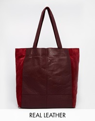Warehouse Leather And Suede Mix Shopper Bag Oxblood