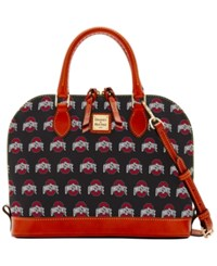 Dooney And Bourke Ohio State Buckeyes Ncaa Zip Satchel Black Brown Red