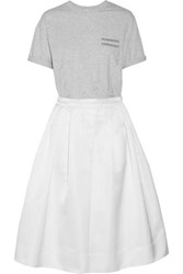 Brunello Cucinelli Pleated Embellished Cotton Jersey And Satin Dress White