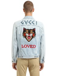 Gucci Tiger Patch Stone Washed Denim Jacket
