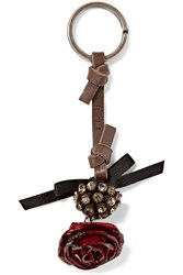 Marni Leather Enamel And Crystal Keychain Red