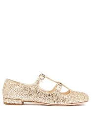 Miu Miu Glittered Mary Jane Leather Flats Gold