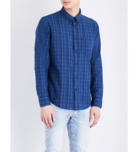 Lee Regular Fit Checked Cotton Shirt Blue