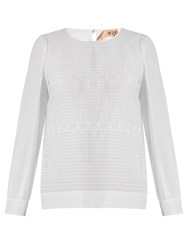 N 21 Lace Panelled Cotton And Silk Blend Top White