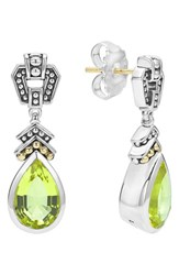 Lagos Women's 'Caviar Color' Semiprecious Stone Teardrop Earrings Green Quartz