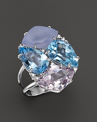 Vianna Brasil 18K White Gold Ring With Blue Topaz Chalcedony Pink Amethyst And Diamond Accents