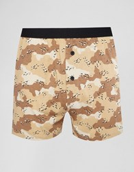 Asos Jersey Boxers With Camo Print Beige