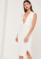 Missguided Lapel Plunge Midi Dress White Ivory