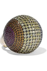Noir Jewelry Woman Gold Tone Crystal And Enamel Ring Gold