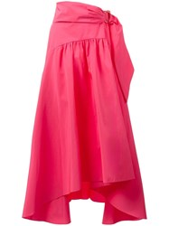 Peter Pilotto Asymmetric Taffeta Midi Skirt Pink Purple