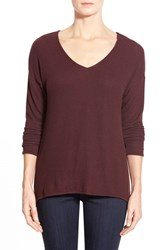 Petite Women's Gibson 'Yummy Fleece' High Low V Neck Pullover Burgundy Stem