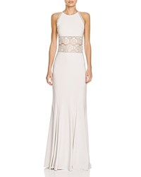 Mignon Boho Illusion Lace Detail Gown Antique Ivory