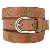 White Stuff Embossed Floral Belt Tan