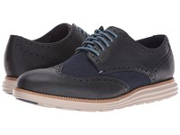 Cole Haan Original Grand Wing Oxford Dark Night Leather Blue Plaid Cobblestone Men's Lace Up Casual Shoes