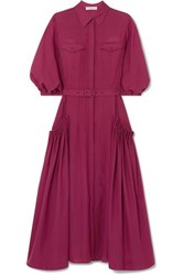 Gabriela Hearst Woodward Belted Gathered Wool And Cashmere Blend Midi Dress Plum