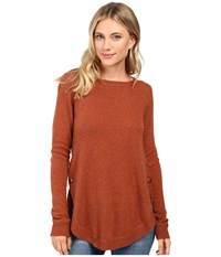 Christin Michaels Juliet Coverstitch Circle Hem Cashmere Sweater Terracotta Women's Sweater Orange
