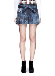 Valentino Butterfly Embroidered Tie Dye Print Denim Skort Blue