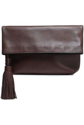 Michael Kors Collection Woman Tassel Trimmed Leather Clutch Chocolate