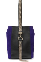 Lanvin Embellished Leather And Suede Wristlet Bag Black