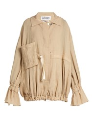 Loewe Ruffled Cuff Crinkled Cotton Blend Jacket Beige
