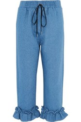 Mother Of Pearl Finley Ruffled Cotton Straight Leg Pants Light Blue