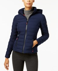 Nautica Stretch Hooded Packable Puffer Coat Navy Seas