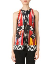 Altuzarra Sleeveless Pleated Ikat Blouse Multiclr Red Ikat