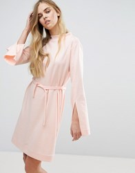 House Of Sunny Extra Long Sleeved Dress With Tie Waist Pastel Pink