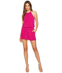 1.State High Neck Gathered Romper W Keyhole Tropic Berry Women's Jumpsuit And Rompers One Piece Pink