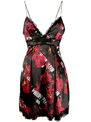 Philipp Plein Rose Print Slip Dress Black