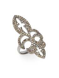 Bavna 1.37 Tcw Champagne Diamond And Sterling Silver Fleur De Lis Ring