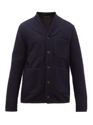 The Gigi Single Breasted Technical Blend Fleece Blazer Navy