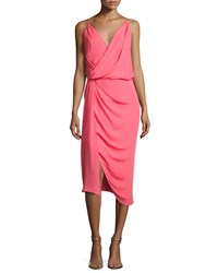 5adaa83230f5 Camilla And Marc Sage Silk Crepe De Chine Cocktail Dress Pink Punch  Tangerine
