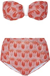 Missoni Metallic Crochet Knit Bandeau Bikini Bright Pink