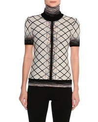 Missoni Short Sleeve Check Jacquard Turtleneck Top Beige Black