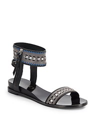 Cynthia Vincent Fayette Leather Ankle Strap Sandals Black Multi